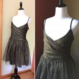 Vintage 80s 90s tulle gold shimmer party dress